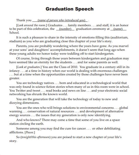 sle graduation speech 5 documents in pdf