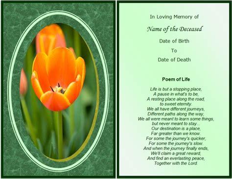 memory poem template memorial cards sles