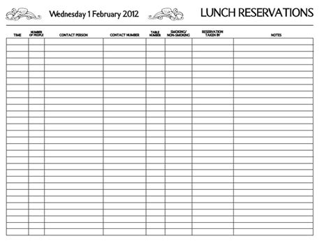 restaurant reservation sheet template restaurant reservation restaurant reservation book