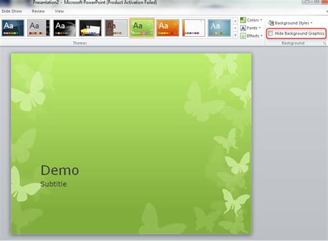 remove themes powerpoint 2010 replacing background graphics of a powerpoint theme