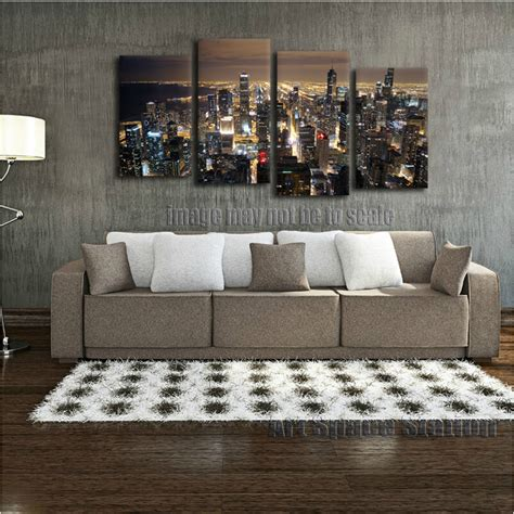 skyline home decor chicago skyline giant wall art home decor hd canvas print