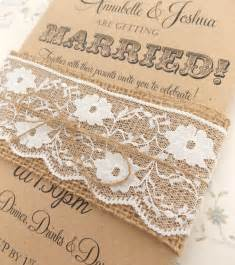 rustic circus wedding invitation burlap and lace on kraft card