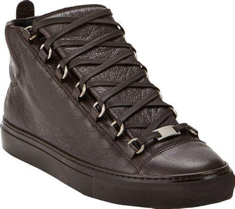 brown balenciaga sneakers balenciaga arena hightop sneakers in brown for lyst