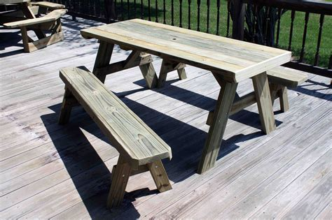 build picnic table bench diy patio picnic bench table set with solid wooden table and separate benches for