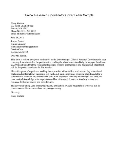 Cover Letter Of Research Research Cover Letter Sle The Best Letter Sle