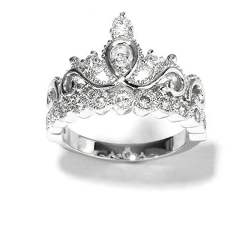 14k white gold princess crown cz ring crown rings