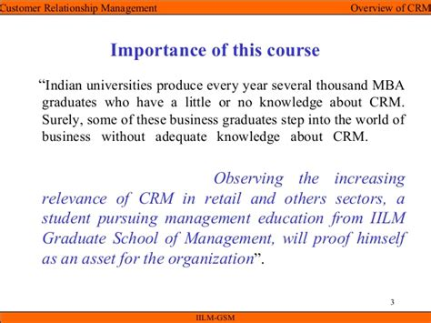 Mba Units Required For Graduation by Crm Unit I Overview Of Crm