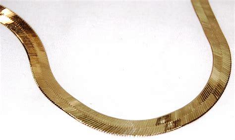 yellow gold herringbone necklace images