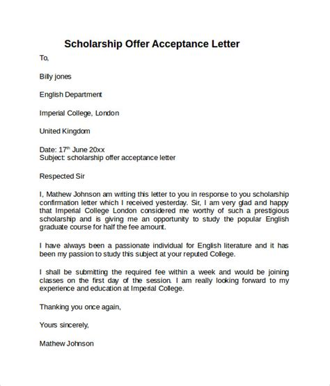 Exle Of An Acceptance Letter For A Scholarship Sle Offer Acceptance Letter 9 Free Documents In Pdf Word