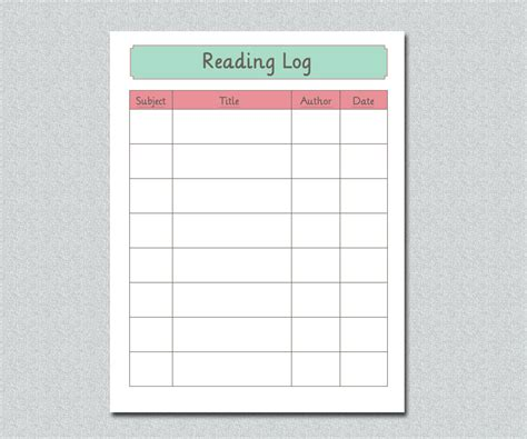 printable homeschool reading log items similar to printable home school reading log 8 5 x
