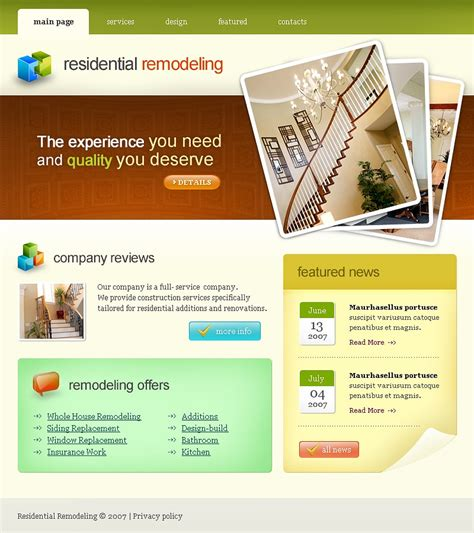 renovation websites home remodeling website template 17279