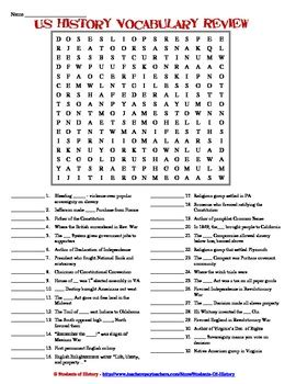 Search Scam Early American History Vocabulary Word Search Review By Students Of History