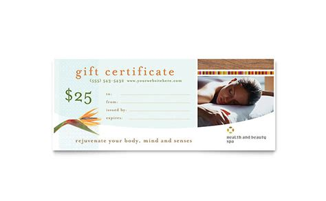 Health Beauty Spa Gift Certificate Template Design Spa Gift Certificate Template Word