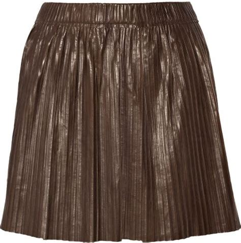 marant carla pleated leather mini skirt in brown lyst