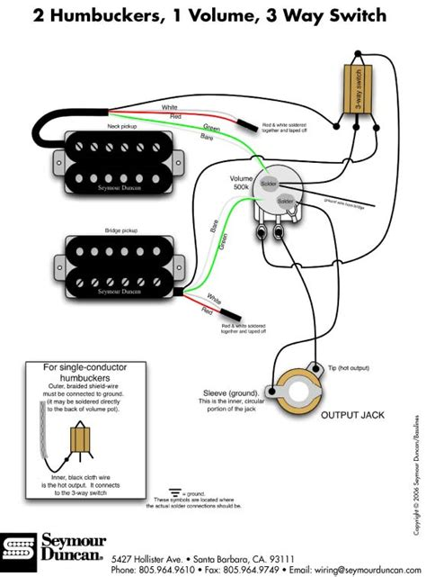 guitar wiring diagram 2 humbucker 1 volume 1 tone guitar bass wiring artist relations