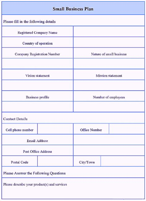 simple basic startup small business plan template pdf
