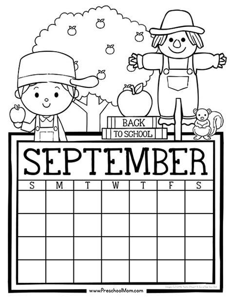 September Preschool Calendar Templates