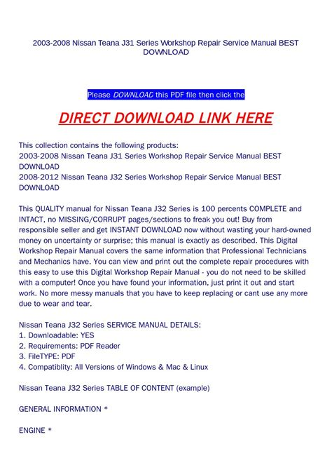 what is the best auto repair manual 2008 ford f series auto manual 2003 2008 nissan teana j31 series workshop repair service manual best download by goodmanami issuu