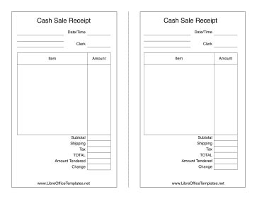 libreoffice templates receipt sales receipt