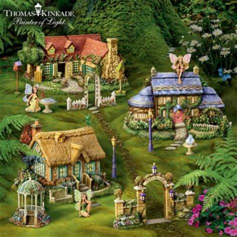 Mickey And Minnie Mouse Home Decor by Thomas Kinkade Fairy Garden Village Collection