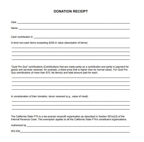 charity donation receipt template sle donation receipt template 23 free documents in