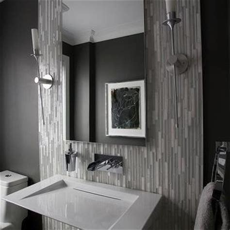 modern gray bathrooms linear gray glass tiles design decor photos pictures ideas inspiration paint