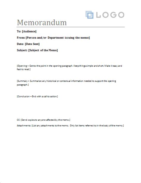 Memorandum Template Business Blue Memo Templates Word Free Office Quotes