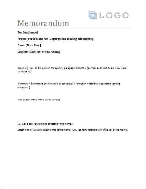 memorandum template sample memo letter