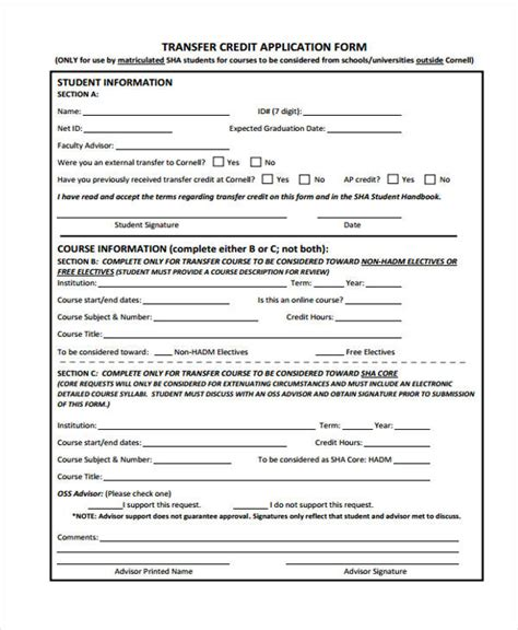 Transfer Of Credit Form Jcq 27 Sle Credit Application Forms