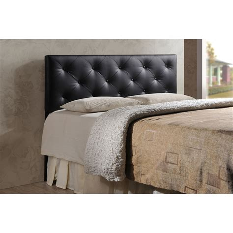 Upholstered Black Headboard Baxton Studio Baltimore Modern And Contemporary King Black Faux Leather Upholstered Headboard