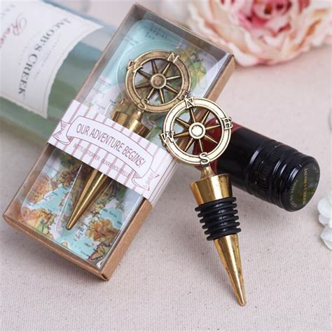 Souvenir Wine Stopper 1pcs golden compass wine stopper wedding favors and gifts wine bottle opener bar tools souvenirs