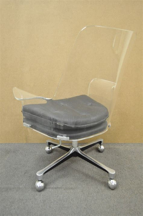 1960s Sculpted Lucite Swivel Desk Chair After Vladimir Lucite Swivel Chair
