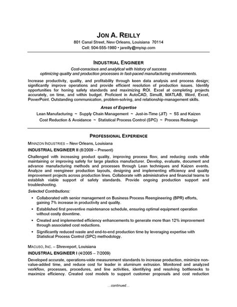 standard resume format for engineers resume exle industrial engineering careerperfect