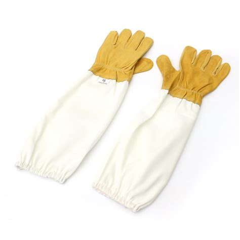 yellow and white l protective beekeeping gloves goatskin bee keeping with