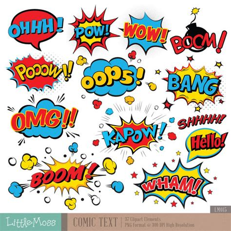 printable superhero quotes comic text digital clipart superhero text clipart