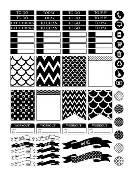 printable planner black and white viac než 1000 n 225 padov odi 225 re na pintereste planner