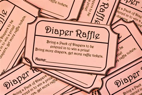 printable raffle tickets for baby shower instant download pink printable baby shower diaper raffle