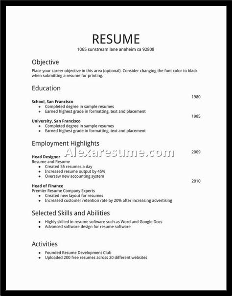simple resume exles for college students resume and
