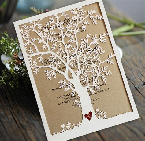 hochzeitseinladung rustikal aliexpress buy laser cut tree wedding invitation
