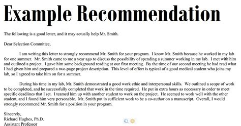 Letter Of Recommendation From Research Mentor Sle Recommendation Letter 3000 Exle Recommendation Letter