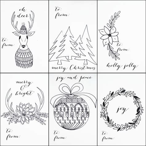 printable holiday gift tags to color free printable christmas tags that you can color