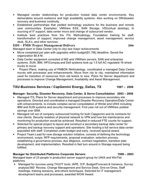 Disaster Recovery Specialist Sle Resume by Resume Timothy White It Leader