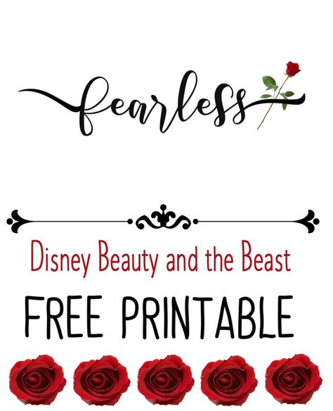 free printable disney quotes disney beauty and the beast fearless printable free