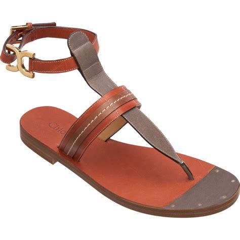 t sandal chlo 233 t sandal in brown gold lyst