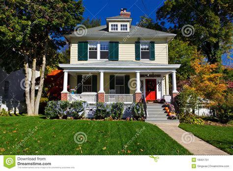 Prairie Style Architecture by Single Family House Prairie Style Home Autumn Fall Stock
