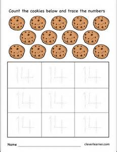 number 14 cookies worksheet for preschool children