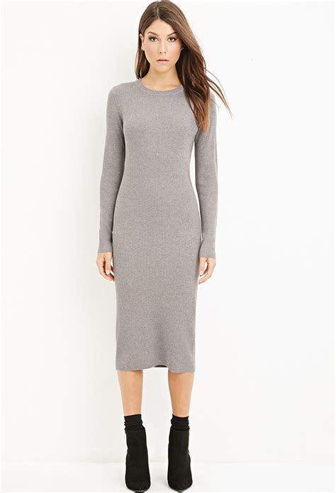 knit dress forever 21 ribbed knit midi dress in gray lyst