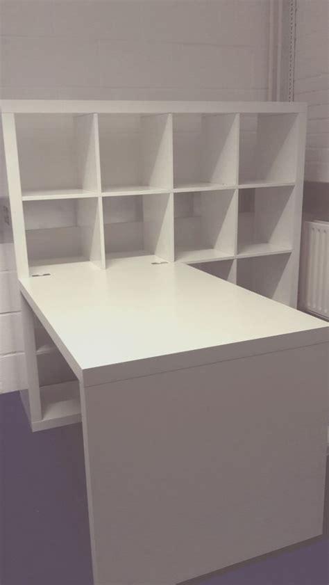 desk storage combination ikea kallax attached birch