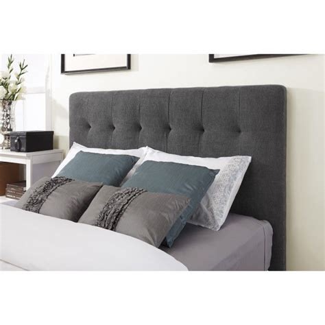Grey Tufted Headboard Grey Fabric Headboard Connected By Grey Pillows On The Bed Bedroom Ideas