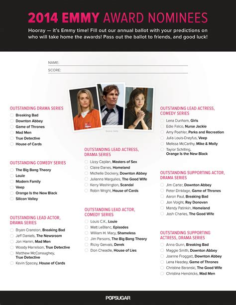 Emmy Ballot 2015 Printable